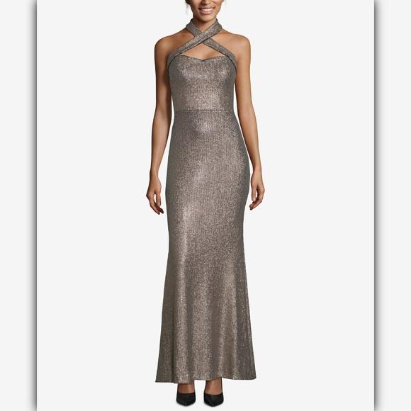 Xscape Women/'s Sequined Halter Lace Gown